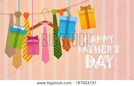 Happy Father Day Family Holiday, Necktie Greeting Card Flat Vector Illustration