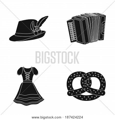 Tyrolean hat, accordion, dress, pretzel. Oktoberfestset collection icons in black style vector symbol stock illustration