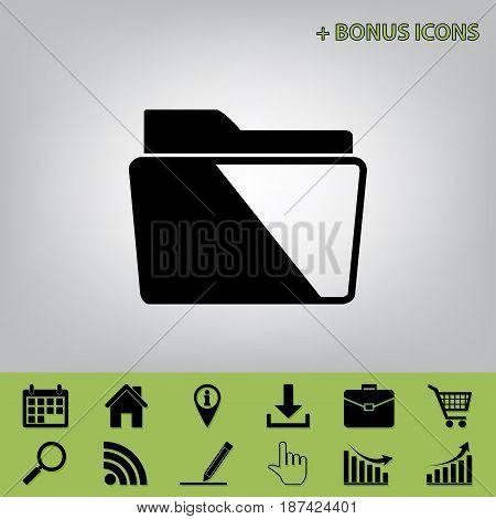 Folder sign illustration. Vector. Black icon at gray background with bonus icons