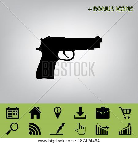 Gun sign illustration. Vector. Black icon at gray background with bonus icons