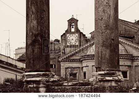 Columns. Rome Forum with ruins of temples. Italy.
