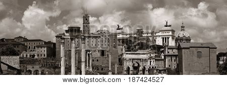 Rome Forum with ruins of historical buildings. Italy.
