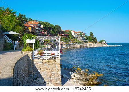 Coastal street in old town Nesebar Bulgaria
