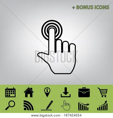 Hand click on button. Vector. Black icon at gray background with bonus icons