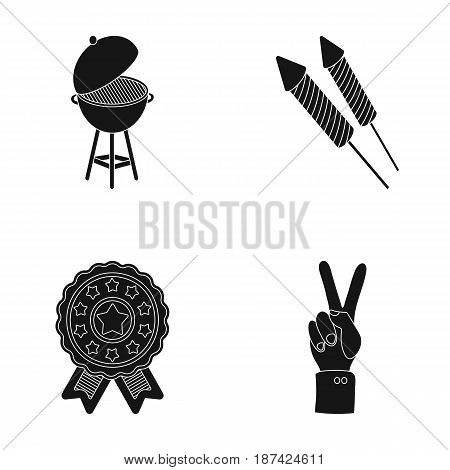 Barbecue, salute, voting ebblema, victory. The patriot's day set collection icons in black style vector symbol stock illustration .