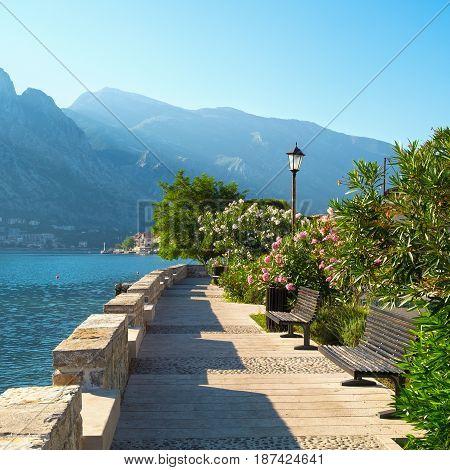 Small embankment street in town Prcanj Kotor Bay Montenegro