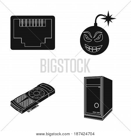 Virus, system unit and other components. Personal computer set collection icons in black style vector symbol stock illustration .