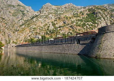 Fortress wall of old town Kotor Montenegro