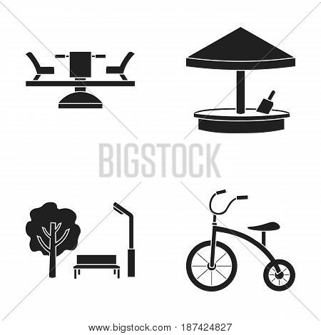 Carousel, sandbox, park, tricycle. Playground set collection icons in black style vector symbol stock illustration .