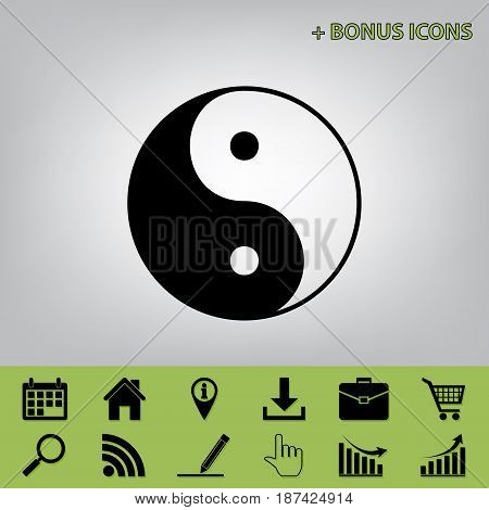 Ying yang symbol of harmony and balance. Vector. Black icon at gray background with bonus icons
