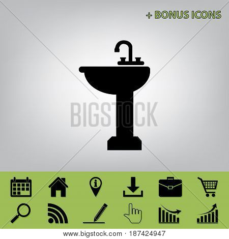 Bathroom sink sign. Vector. Black icon at gray background with bonus icons