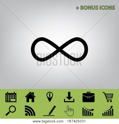 Limitless symbol illustration. Vector. Black icon at gray background with bonus icons