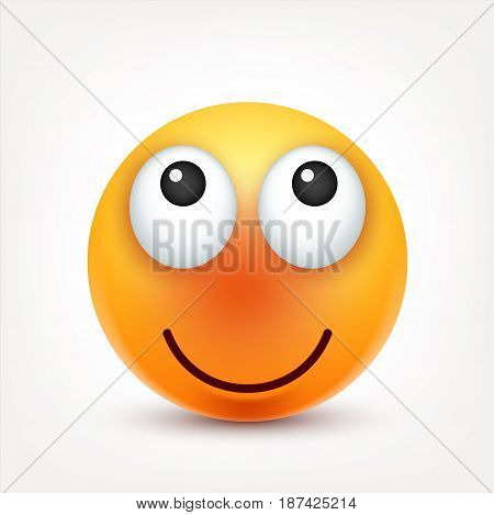 Smiley, smiling emoticon. Yellow face with emotions. Facial expression. 3d realistic emoji. Funny cartoon character.Mood. Web icon. Vector illustration.