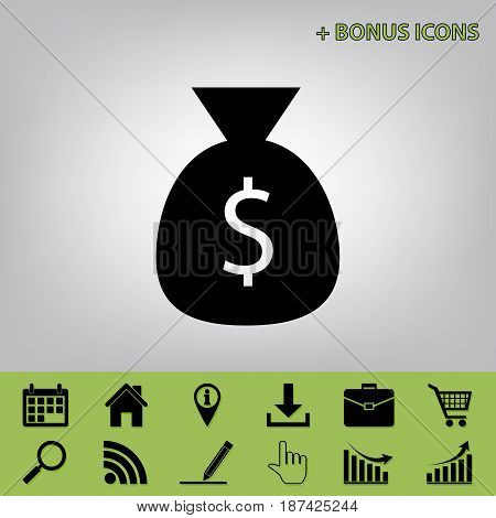 Money bag sign illustration. Vector. Black icon at gray background with bonus icons
