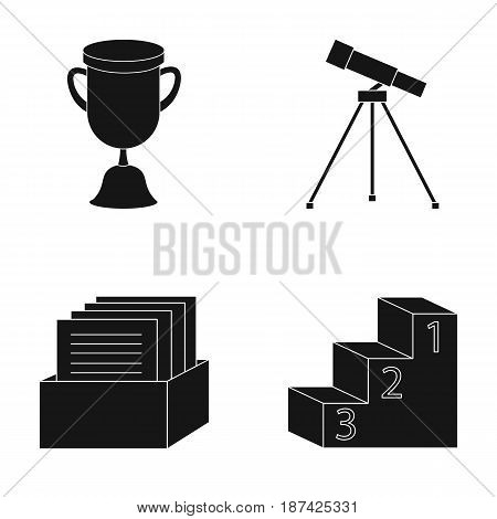 Cup, prize, telescope, catalog in a box and pedestal of honor. School set collection icons in black style vector symbol stock illustration .