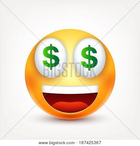 Smiley, dollar, smiling emoticon. Yellow face with emotions. Facial expression. 3d realistic emoji. Funny cartoon character.Mood. Web icon. Vector illustration.