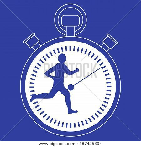 Stylized Icon Of The Runner With A Stopwatch
