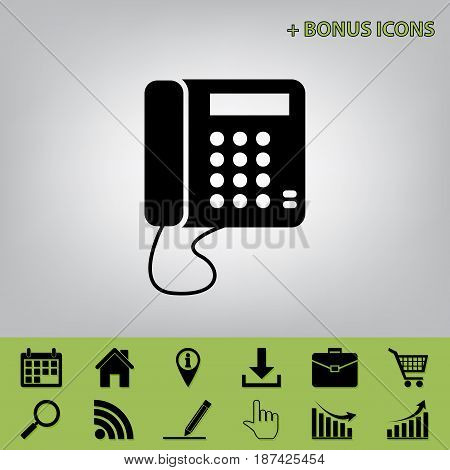 Communication or phone sign. Vector. Black icon at gray background with bonus icons