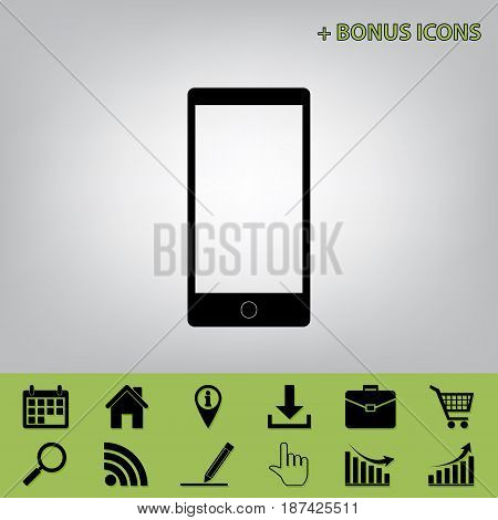 Abstract style modern gadget with blank screen. Template for any content. Vector. Black icon at gray background with bonus icons