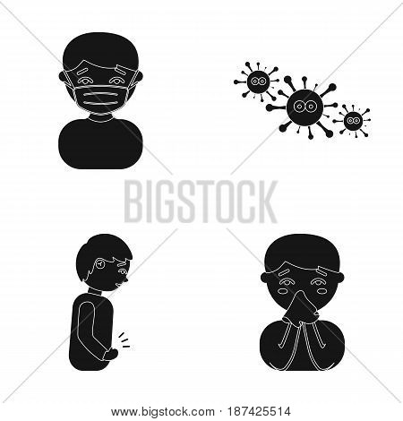 A man in a medical mask, a man who has a stomachache, a boy with a handkerchief, viruses, germs, bacteria. Sick set collection icons in black style vector symbol stock illustration .