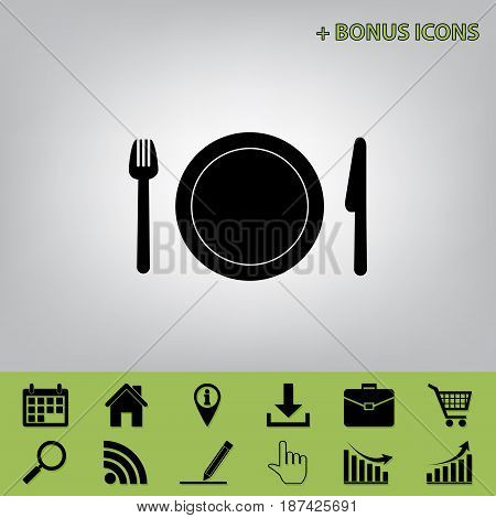 Fork, plate and knife. Vector. Black icon at gray background with bonus icons