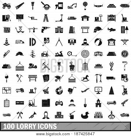 100 lorry icons set in simple style for any design vector illustration
