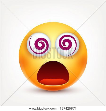 Smiley crazy, smiling emoticon. Yellow face with emotions. Facial expression. 3d realistic emoji. Funny cartoon character.Mood. Web icon. Vector illustration.