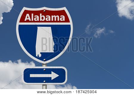 Road trip to Alabama Red white and blue interstate highway road sign with word Alabama and map of Alabama with sky background 3D Illustration