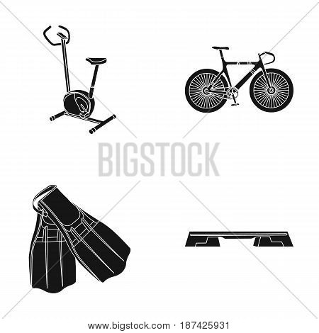 Exercise bike, bicycle, fins for swimming, fitness bench. Sport set collection icons in black style vector symbol stock illustration .
