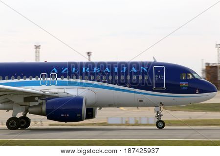 Borispol, Ukraine - March 25, 2017: AZAL Azerbaijan Airlines Airbus A320-200 aircraft running on the runway of Borispol International Airport on March 25, 2017. Editorial use only