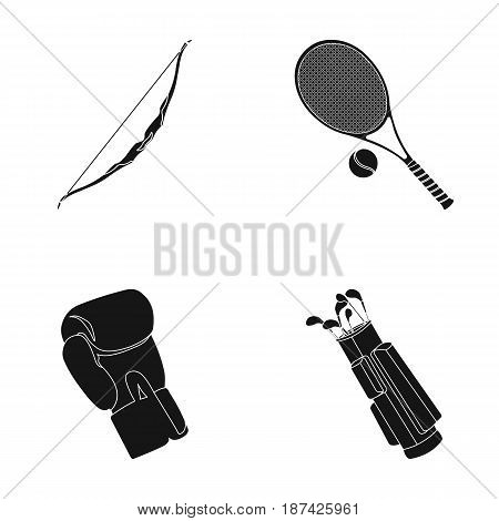 Bow for shooting at the target, racket with a ball for playing in a tennis court, a glove for boxing, a cover, a drawer for golf clubs. Sport set collection icons in black style vector symbol stock illustration .