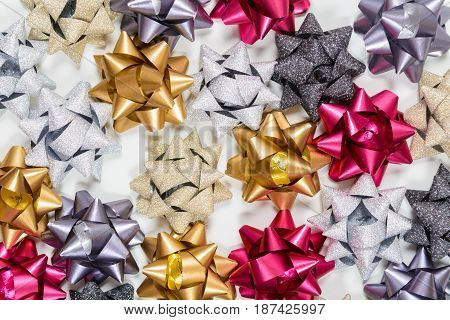 Many Festive Bows On White Background