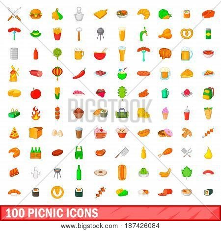 100 picnic icons set in cartoon style for any design vector illustration