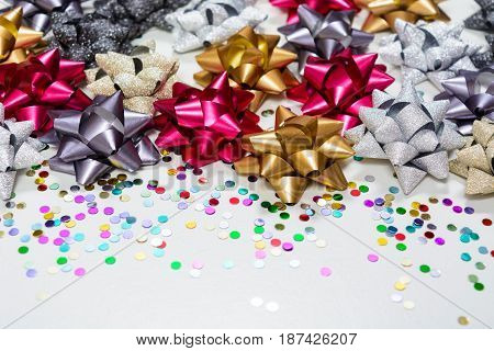 Many Christmas Bows With Confetti