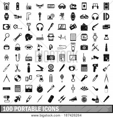 100 portable icons set in simple style for any design vector illustration