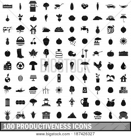 100 productiveness icons set in simple style for any design vector illustration