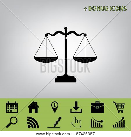 Scales balance sign. Vector. Black icon at gray background with bonus icons