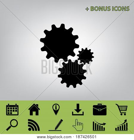 Settings sign illustration. Vector. Black icon at gray background with bonus icons