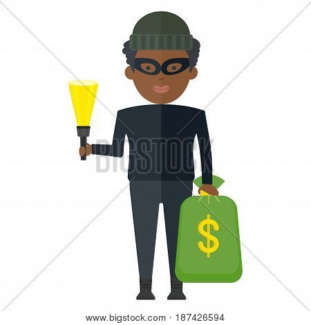 Dark skinned thief in a dark invisible clothes mask and hat holding bag of money and flashlight. Successful bank robbery. Flat vector cartoon illustration. Objects isolated on a white background.