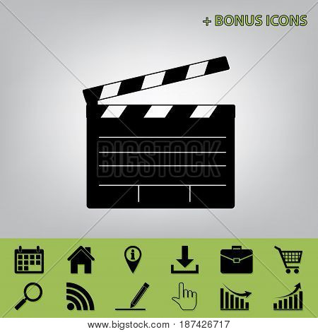 Film clap board cinema sign. Vector. Black icon at gray background with bonus icons