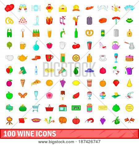 100 wine icons set in cartoon style for any design vector illustration