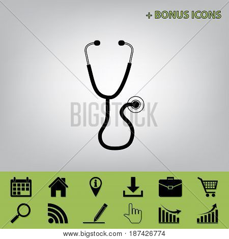 Stethoscope sign illustration. Vector. Black icon at gray background with bonus icons