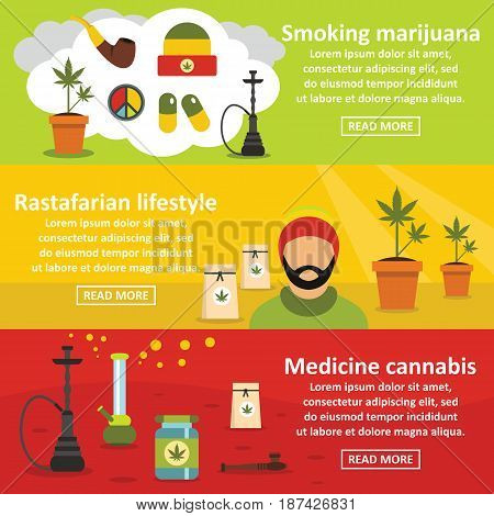 Marijuana cannabis banner horizontal concept set. Flat illustration of 3 marijuana cannabis vector banner horizontal concepts for web