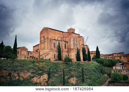 Basilica of San Domenico in old medieval town Siena in Italy