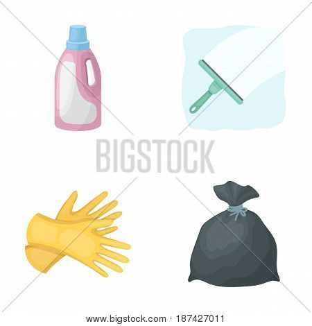 Gel for washing in a pink bottle, yellow gloves for cleaning, a brush for glass, a black bag for garbage or waste. Cleaning set collection icons in cartoon style vector symbol stock illustration .