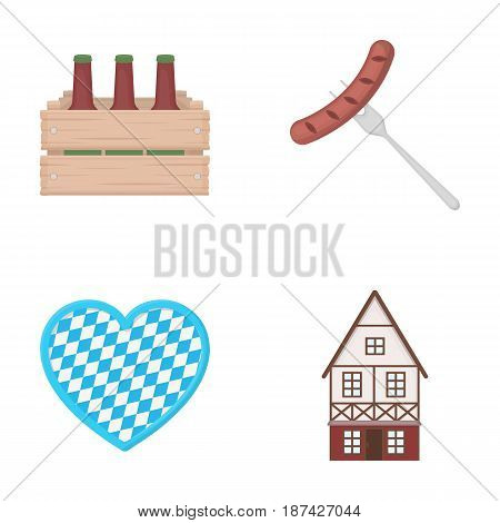 Box with beer, fried sausage, heart of the festival, bavarian cottage. Oktoberfest set collection icons in cartoon style vector symbol stock illustration .