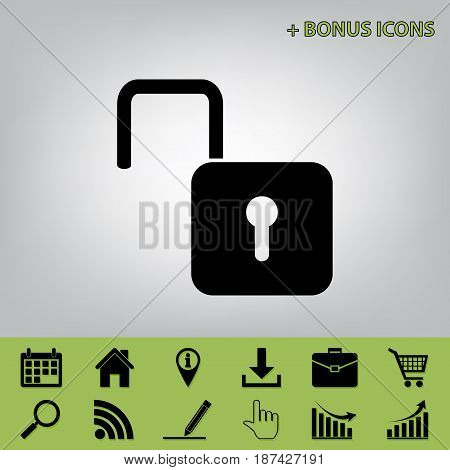 Unlock sign illustration. Vector. Black icon at gray background with bonus icons at celery ones