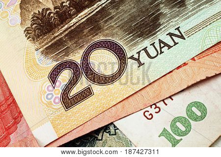 Chinese paper yuan currency close up in macro