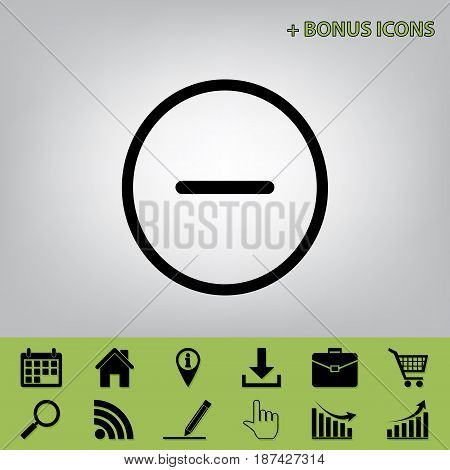 Negative symbol illustration. Minus sign. Vector. Black icon at gray background with bonus icons at celery ones