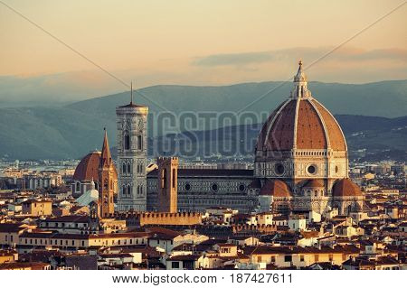 Florence Cathedral with city skyline viewed from Piazzale Michelangelo
